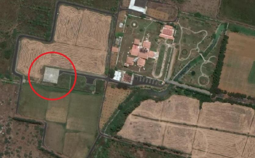 சிறுதாவூர் பங்களாவில் அமைக்கப்பட்ட ஹெலிபேடு