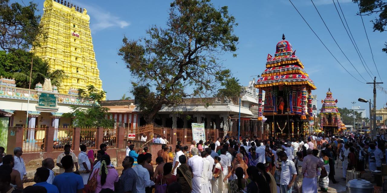 ராமேஸ்வரம் கோயிலில் மாசி மகா சிவராத்திரி தேரோட்டம்.