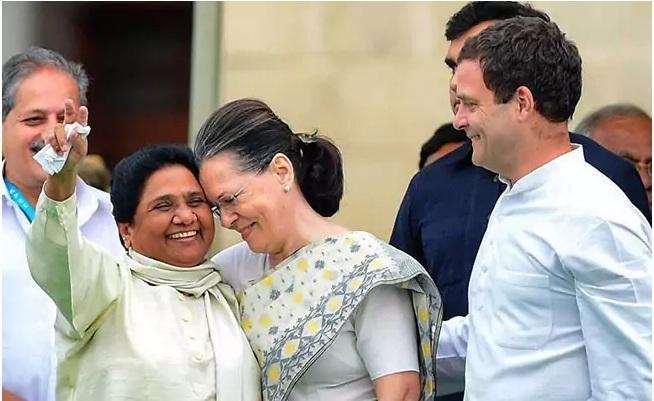 சோனியா ராகுலுடன் மாயாவதி