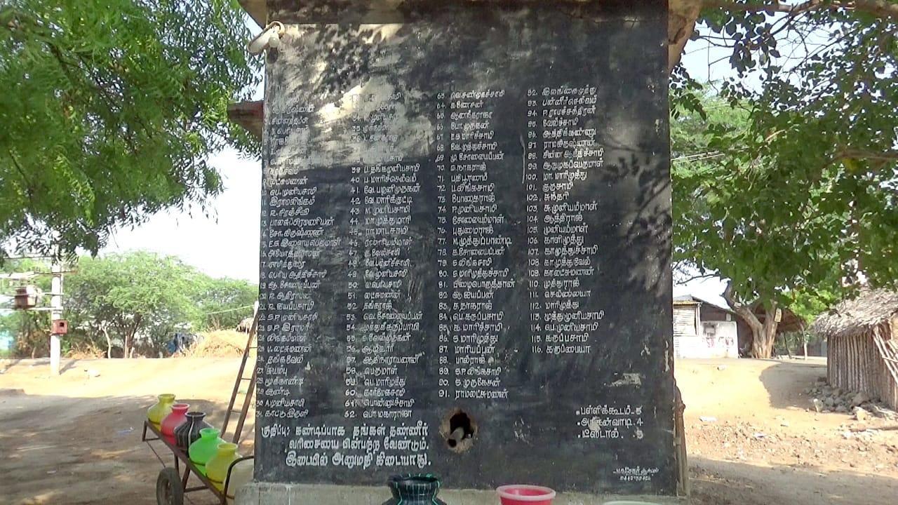 தண்ணீர் பிடிப்பதற்காக கிராமத்தில் வைக்கப்பட்டுள்ள போர்டு